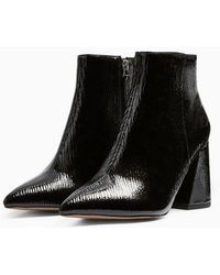 TOPSHOP - Wide Fit Hackneypointy Patent Boots - Lyst