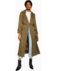 TOPSHOP - Belted Trench Coat - Lyst