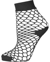 TOPSHOP - Large Fishnet Ankle Socks - Lyst