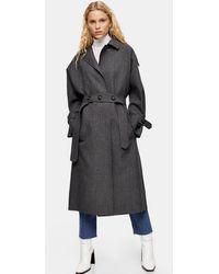 TOPSHOP Gray Trench Coat