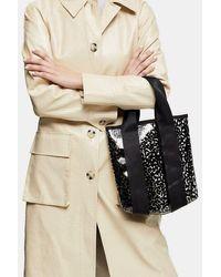 TOPSHOP Tpu Leopard Print Grab Bag - Black