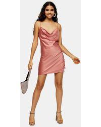 TOPSHOP Rose Pink Ruched Satin Slip Dress