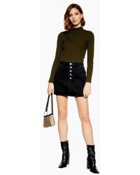 198f3ecb4c TOPSHOP Petite Corduroy Zip Skirt in Black - Lyst