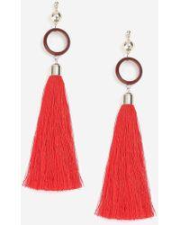TOPSHOP - Circle And Tassel Drop Earrings - Lyst