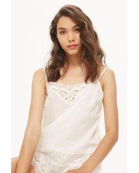 TOPSHOP - Premium Cotton And Lace Pyjama Camisole Top - Lyst