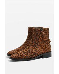 TOPSHOP - Aubrey Leopard Print Flat Leather Boots - Lyst