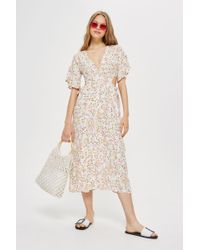 TOPSHOP - Petite Ditsy Cut-out Midi Dress - Lyst