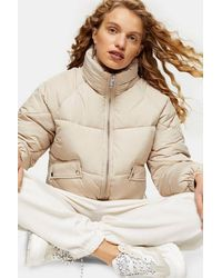 TOPSHOP - Classic Cream Padded Puffer Jacket - Lyst