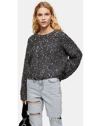 TOPSHOP - Grey Chevron Neppy Crop Sweater - Lyst