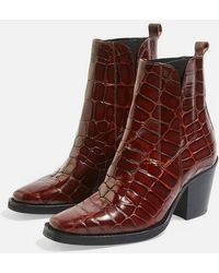 TOPSHOP - Ason Chelsea Mid Heel Ankle Boots - Lyst