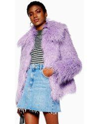 TOPSHOP - Lilac Mongolian Faux Fur Coat - Lyst
