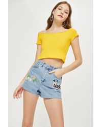 TOPSHOP - 'love Me Not' Embroidered Mom Shorts - Lyst