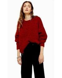 TOPSHOP - Rust Knitted Waffle Jumper - Lyst