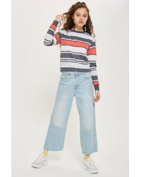 TOPSHOP - Multi Striped Long Sleeve Top - Lyst