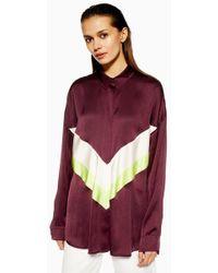 e14c8da05ea TOPSHOP - chevron Colour Block Shirt By Boutique - Lyst