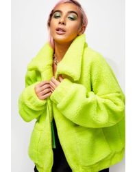 Jaded London - Neon Yellow Fleece Jacket By - Lyst