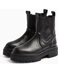 TOPSHOP Albie Black Leather Chunky Chelsea Boots