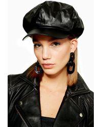 TOPSHOP - Slouchy Pu Baker Boy Hat - Lyst