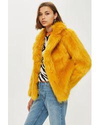 TOPSHOP - Faux Fur Coat - Lyst