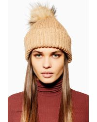 5d44cbeb9a9 TOPSHOP - Knitted Faux Fur Pom Pom Beanie - Lyst