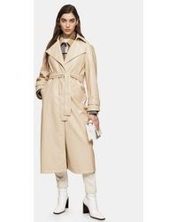 TOPSHOP Considered Cream Pu Trench - Natural
