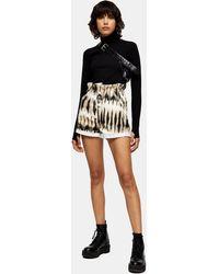 TOPSHOP Short en jean effet tie & dye avec taille froncée - Noir
