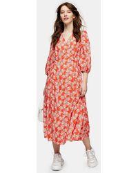 TOPSHOP Floral Print Kimono Wrap Midi Dress - Red