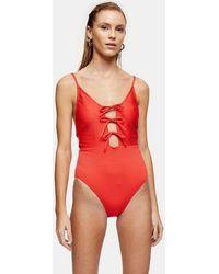 TOPSHOP Red Seersucker Tie Front Swimsuit