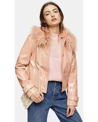 TOPSHOP Peach Faux Fur Collar Crop Pu Coat - Multicolor
