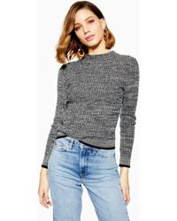 18e774f1add2 Lyst - TOPSHOP Knitted Cashmere Polo Jumper in Gray