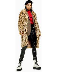 TOPSHOP Leopard Print Faux Fur Coat - Multicolor