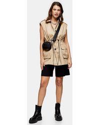TOPSHOP Sand Sleeveless Jacket - Natural