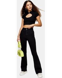 TOPSHOP Considered Three Washed Black Skinny Flare Jeans