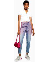 TOPSHOP Mom Jeans mit rosa Farbeffekt - Pink