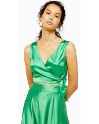 TOPSHOP Sleeveless Satin Wrap Top - Green