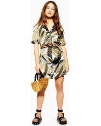 a95bdd9d4161 TOPSHOP Petite Zebra Print Shirt Dress in Black - Lyst