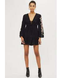 TOPSHOP - Petite Embroidered Lace Up Dress - Lyst