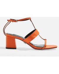 TOPSHOP Ribbon Sandaletten mit T-Riemchen - Orange