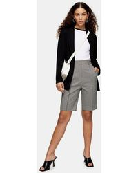 TOPSHOP Black And White Houndstooth Bermuda Shorts