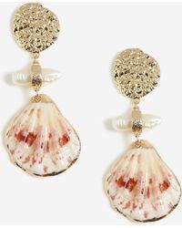 TOPSHOP Shell Drop Earrings - Metallic