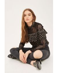 TOPSHOP   Moto Washed Black Ripped Joni Jeans   Lyst