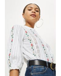 TOPSHOP - Linear Floral Ruffle Blouse - Lyst