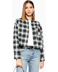TOPSHOP - Petite Cropped Check Shirt - Lyst