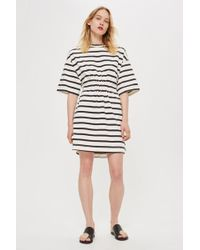 TOPSHOP - striped Drawcord T-shirt Dress By Boutique - Lyst