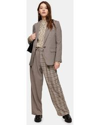 TOPSHOP Brown Mixed Check Slouch Pants