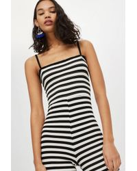 TOPSHOP - Shirred Striped Jumpsuit - Lyst