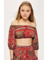 Band Of Gypsies - Tile Print Bardot Top By - Lyst