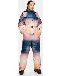 TOPSHOP Combinaison de ski à capuche imprimée, Sno - Bleu
