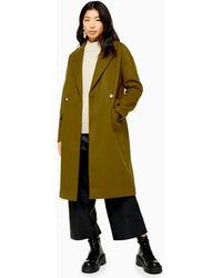 Manteau vert olive avec boutonnage croisé