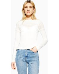 9cedd430816290 Lyst - TOPSHOP Cold Shoulder Ribbed Top in White